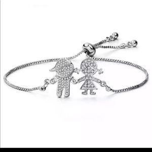 18k white gold family bracelet